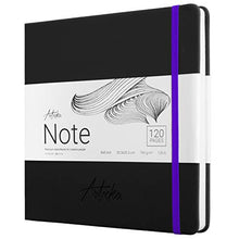 Load image into Gallery viewer, Articka Note Hardcover Sketchbook – Square Hardbound Sketch Journal – 8 x 8 Inch Art Book – 120 Pages with Elastic Closure – 180GSM High Quality Paper – Ideal for Pencils, Graphite, Charcoal, Pen