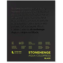 Load image into Gallery viewer, Stonehenge, 1 Legion Aqua Watercolor Pad, 140lb, Cold Press, 8 by 10 Inches, Black Paper, 15 Sheets