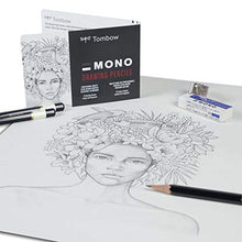 Load image into Gallery viewer, Tombow 51523 MONO Drawing Pencil Set, Assorted Degrees, 12-Pack. Professional Quality Graphite Pencil Set with Eraser and Sharpener