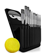 Load image into Gallery viewer, Paint Brushes Set for Acrylic Oil Watercolor, Artist Face and Body Professional Painting Kits with Synthetic Nylon Tips (Black 12 pcs)