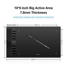 Load image into Gallery viewer, UGEE M708 Graphics Tablet, 10 x 6 inch Large Active Area Drawing Tablet with 8 Hot Keys, 8192 Levels Pen, UGEE M708 Graphic Tablets for Paint, Digital Art Creation Sketch