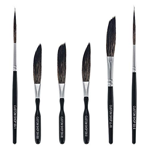 Custom Shop Pinstriping Brush Master Set (Sword #0, 00, 000, Scroll #1 & #2, Long Liner #00) - The Complete Set of Every Brush Style and Size - High Performance Striping Brushes