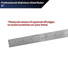 Load image into Gallery viewer, Pacific Arc 12 Inch Stainless Steel Ruler with Inch/Metric Conversion Table