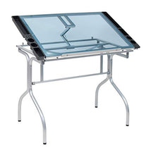 "Load image into Gallery viewer, Studio Designs Folding Modern Glass Top Adjustable Drafting Table Craft Table Drawing Desk Hobby Table Writing Desk Studio Desk, 35.25"" W x 23.75"" D, Silver / Blue Glass"