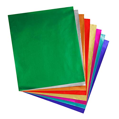 "Hygloss Products Metallic Foil Paper Sheets - 8 Assorted Colors, 8 1/2 x 10"", 24 Sheets"