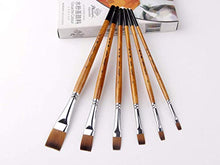 Load image into Gallery viewer, golden maple 6Pcs Japanese Nylon Flat Paint Brush Set Short Wooden Acrylic Handle for Oil Watercolor Acrylic Gouache Paints