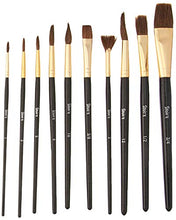 Load image into Gallery viewer, Darice Studio 71 Natural Bristle Paint Brushes: 10 Pieces, Brown/Gold (30052076)