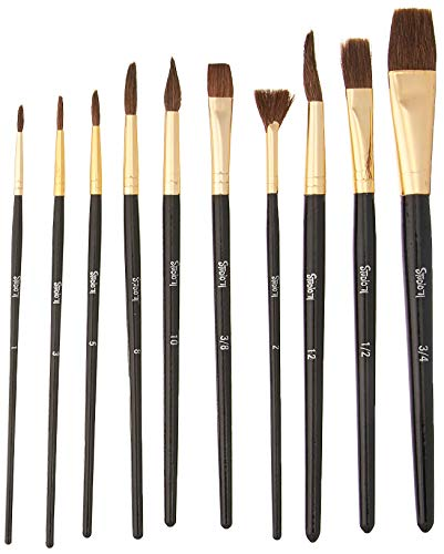 Darice Studio 71 Natural Bristle Paint Brushes: 10 Pieces, Brown/Gold (30052076)