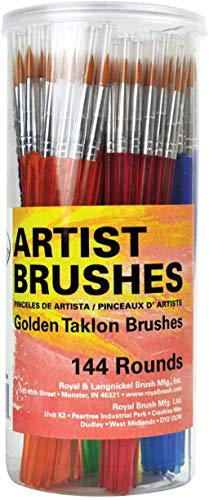 Royal and Langnickel Round Taklon Variety Brushes Classroom Canister Set - Gold (Pack of 144)