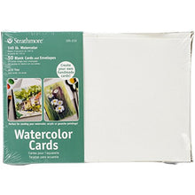 "Load image into Gallery viewer, Strathmore 105-210-1 Watercolor Cards, Cold Press, 5"" x 6.875"", 50 Envelopes, Cards & Envelopes , White"