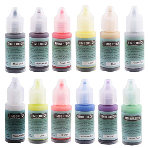 TIMBERTECH Acrylic Airbrush Paint, Professional 12x10ml Color Set of Acrylic Paint, Quick Drying Water Based, Rich Vivid Colors for Artists, Students, Beginners
