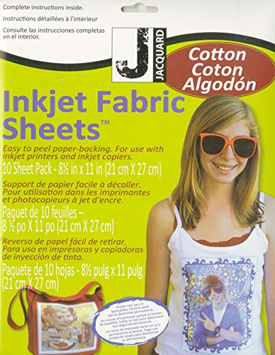 Jacquard Inkjet Fabric Sheets 8.5inX11in 10/Pkg-100% Cotton Percale
