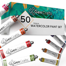 Load image into Gallery viewer, GenCrafts Watercolor Paint Set - Set of 50 Premium Vibrant Colors - (12 ml, 0.406 oz.) - Quality Non Toxic Pigment Paints for Canvas, Fabric, Crafts, and More - for All Artists: Adults and Kids