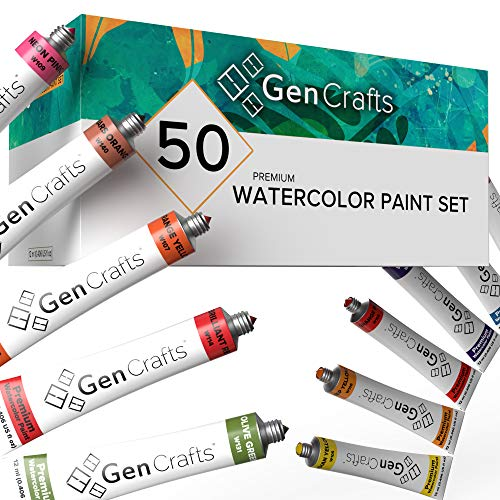 GenCrafts Watercolor Paint Set - Set of 50 Premium Vibrant Colors - (12 ml, 0.406 oz.) - Quality Non Toxic Pigment Paints for Canvas, Fabric, Crafts, and More - for All Artists: Adults and Kids
