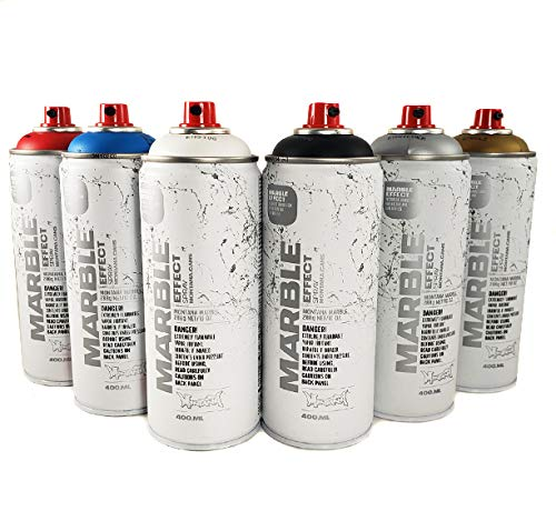 Montana Cans Marble Effect Spray Paint 400mL Set of 6 Main Colors