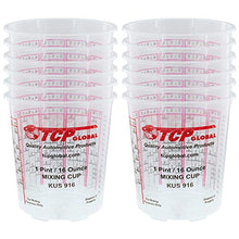 Load image into Gallery viewer, Custom Shop Pack of 12 Each - 16 Ounce Paint Mixing Cups = 1 Pint Cups Have calibrated Mixing ratios on Side of Cup Pack of 12 Paint and Epoxy Mixing Cups