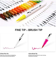 Load image into Gallery viewer, Ohuhu Art Markers Dual Tips Coloring Brush Fineliner Color Pens, 60 Colors of Water Based Marker for Calligraphy Drawing Sketching Coloring Book Bullet Journal Art Mother's Day Back To School Gifts