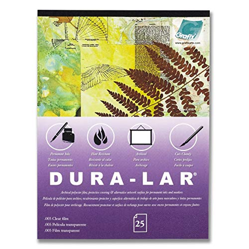 "Grafix Dura-Lar Clear 9 x 12"", Pad of 25 – Ultra 003"" Film, Acetate Alternative, Glossy Surface for Coverings, Stencils, Color Separation, Window Applications, Transparencies"