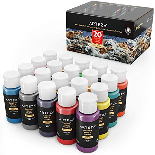 Arteza Outdoor Acrylic Paint, Set of 20 Colors/Bottles 2 oz./59 ml. Rich Pigment Multi-Surface Paints, Art Supplies for Easter Gift, Rock, Wood, Fabric, Leather, Paper, Crafts, Canvas