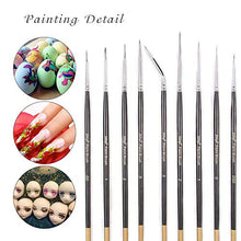 Load image into Gallery viewer, Xileyw Fine Enamel Detail Brushes Set - 9 Pieces Miniature Paint Brushes for Detailing Art Painting - Acrylic, Watercolor, Painting Models, Airplane Kits,Tempera, Face Painting, Nail Art Painting,