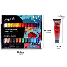 Load image into Gallery viewer, Mont Marte Acrylic Paint Set 24 Colours 36ml, Perfect for Canvas, Wood, Fabric, Leather, Cardboard, Paper, MDF and Crafts