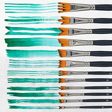 Load image into Gallery viewer, U.S. Art Supply 12 Piece Special Effects Artist Paint Brush Set - Professional Taklon Synthetic FX Brushes, Ribbon, Muti-Liner, Angular - Create Grass, Hair, Fur - Watercolor, Acrylic, Gouache, Oil