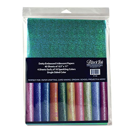 Black Ink, Dotty Embossed Iridescent Paper Assortment Pack, 40 Sheets, 10 Colors, 8.5x11 Inches, PP-1002