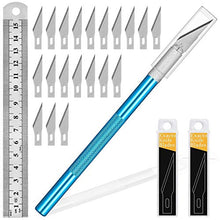 Load image into Gallery viewer, 1PCS Exacto Knife Hobby Knife with Safety Cap and Craft Ruler and 20PCS Exacto Blades for Crafting and Cutting Carving Scrapbooking Art Work Cutting (Blue)