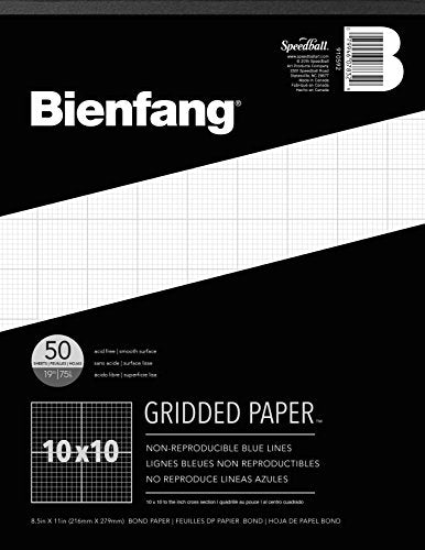 Bienfang Designer Grid Paper Pad, 10 x 10 Cross Section, 8.5-Inch by 11-Inch, 50 Sheets
