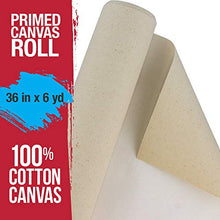 "Load image into Gallery viewer, U.S. Art Supply 36"" Wide x 6 Yard Long Canvas Roll - 100% Cotton 12 Ounce Triple Primed Gesso Artist Painting Backdrop"