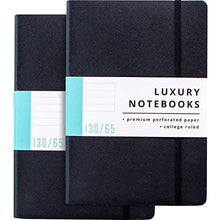 "Load image into Gallery viewer, 2 Pack Luxury Lined Journal Notebooks- Journals For Writing w/ 130 Perforated Pages, Medium (5.7"" x 8.3"") - Soft Cover Notebooks for Work, Travel, College- Journal for Men and Women (Black)"