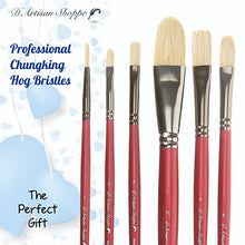 Load image into Gallery viewer, D'Artisan Shoppe Oil Acrylic Paint Brushes Set. 100% Natural Chungking Hog Hair Bristle in Portable Organizer Plastic Container. 6pc Filbert Flat and Round Paintbrush Gift Kit.