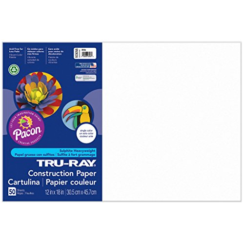Pacon Tru-Ray Construction Paper, White, 12