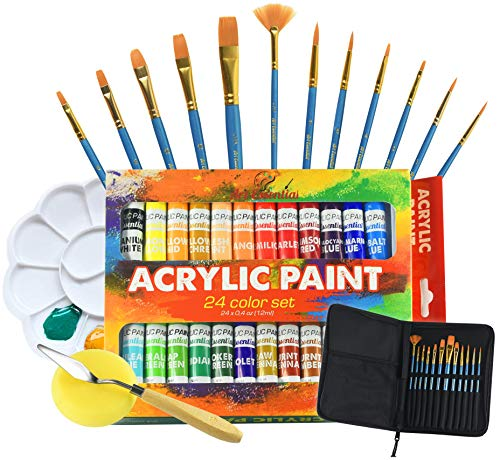 Upgraded Acrylic Paint Set - High-End Arts & Crafts Painting Supplies for Kids & Adults - 24 Stunning Pigments, 10 Professional Brushes & Carrying Case + Extra Bonus: Palette Tray, Knife with Sponge.