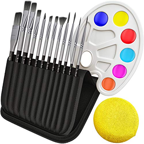 Paint Brushes Set for Acrylic Oil Watercolor, Artist Face and Body Professional Painting Kits with Synthetic Nylon Tips (Black 12 pcs)