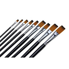 Load image into Gallery viewer, Marrywindix 9pcs Flat Pointed Tip Nylon Hair Acrylic Watercolor Brush Artists Paint Brush Set Black