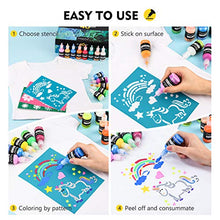 Load image into Gallery viewer, 3D Fabric Paint, Magicfly 40 Colors Permanent Textile Paint with 3 Brushes and Stencils, Permanent Fabric Paint with Fluorescent, Glow in The Dark, Glitter, Metallic Colors for Clothing, T-Shirt, Glas