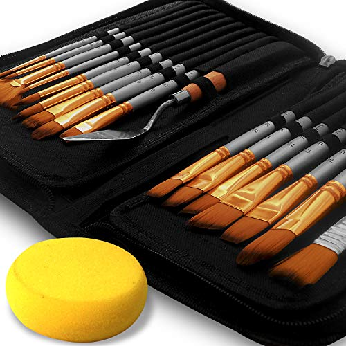 BENICCI Paint Brush Set of 16 – 15 Different Shapes + 1 Flat Brush – with Pallete Knife and Sponge – Nylon Hair and Ergonomic Non Slip Matte Silver Handles - with Standable Organizing Case