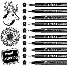 Load image into Gallery viewer, Morfone 10 Size Hand Lettering Pens Calligraphy Brush Pens Black Ink Markers Set Art Kit for Beginners, Hand Writing, Drawing, Sketching, Journaling, Illustrations
