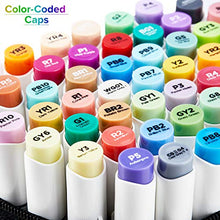 Load image into Gallery viewer, 48 Colors Alcohol Brush Markers, Ohuhu Double Tipped ( Brush & Chisel ) Sketch Markers for Kids, Artist Art Markers, Adult Coloring and Illustration, Comes w/ 1 Colorless Alcohol Marker Blender