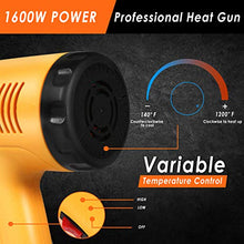 Load image into Gallery viewer, Heat Gun, 1600W Heavy Duty Hot Air Gun Kit, Variable Temperature Control with 2-Temp Settings 4 Nozzles 140℉~1112℉(60℃- 600℃)with Overload Protection for Crafts, Shrinking PVC, Stripping Paint