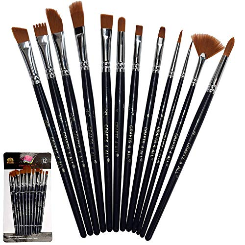 Crafts 4 All Paint Brushes Set Professional Fine Round Pointed Nylon Artist Brush Tips for Acrylic Watercolor and Oil Painting Professional - Set of 12