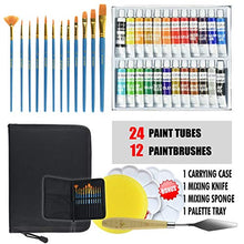 Load image into Gallery viewer, Upgraded Acrylic Paint Set - High-End Arts & Crafts Painting Supplies for Kids & Adults - 24 Stunning Pigments, 10 Professional Brushes & Carrying Case + Extra Bonus: Palette Tray, Knife with Sponge.