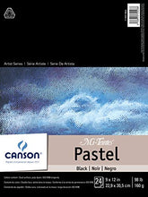 "Load image into Gallery viewer, Canson Drawing Mi-Teintes Paper Pad, Dual Sided Textures for Pastels, Charcoals, Pencil, Fold Over, 98 Pound, 9 x 12 Inch, Black, 24 Sheets, 9""X12"""