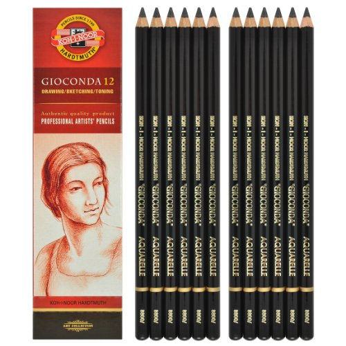 Koh-i-noor Gioconda Negro Aquarelle - 12 Water Soluble Graphite Pencils 2B. 8800