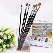Load image into Gallery viewer, 6 Pieces Flat Paint Brush Artist Sable Brush Set with Wooden Handle for Watercolor, Acrylic and Oil Painting Perfect for Beginners, Artists and Painting Lovers