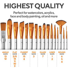 Load image into Gallery viewer, BENICCI Paint Brush Set of 16 – 15 Different Shapes + 1 Flat Brush – with Pallete Knife and Sponge – Nylon Hair and Ergonomic Non Slip Matte Silver Handles - with Standable Organizing Case