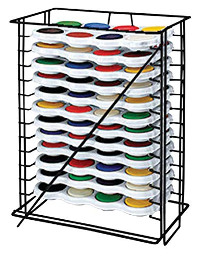 Jack Richeson 8-Color Tempera Cake Palettes with Storage Rack, Set of 12