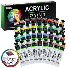 Load image into Gallery viewer, U.S. Art Supply Professional 36 Color Set of Acrylic Paint in Large 18ml Tubes - Rich Vivid Colors for Artists, Students, Beginners - Canvas Portrait Paintings - Color Mixing Wheel