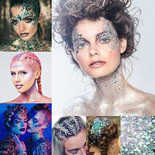 Load image into Gallery viewer, Warmfits Holographic Chunky Glitter 12 Colors Total 120g Face Body Eye Hair Nail Festival Chunky Holographic Glitter Different Size, Stars and Hexagons Shaped (Set A)